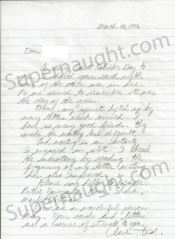 Ted Bundy March 1976 letter signed with envelope - Supernaught True Crime Collectibles