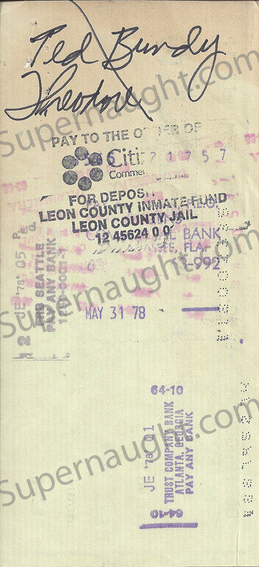 Ted Bundy 1978 County Jail Check Signed Ted Bundy Theodore
