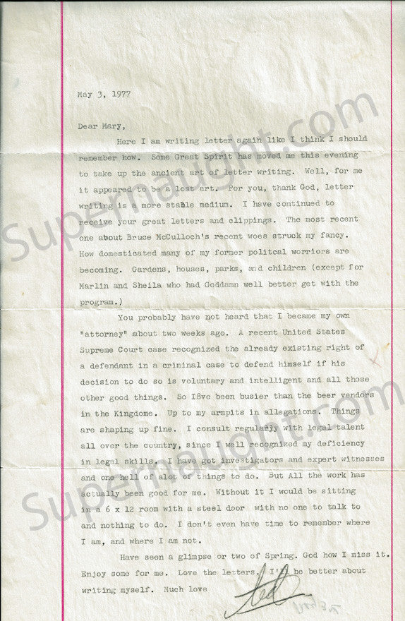 Ted Bundy May 3 1977 letter signed Ted - Supernaught True Crime Collectibles