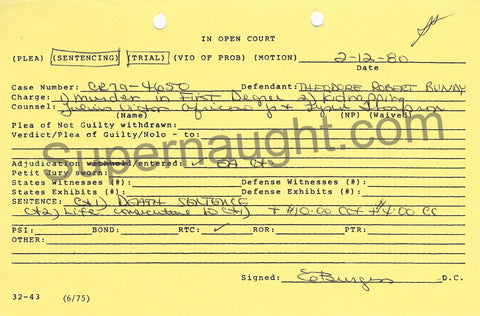 Ted Bundy Sentencing Court Docket