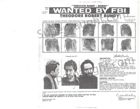 Ted Bundy Two Wanted Poster Copies