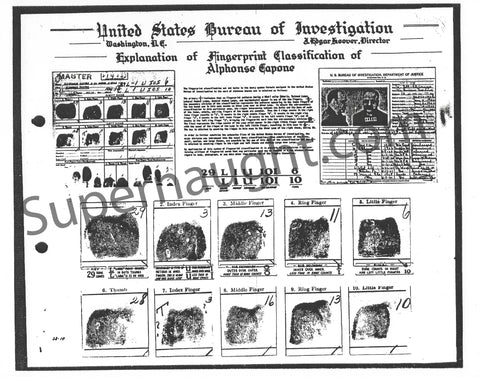 Alphonso Al Capone FBI Fingerprint Chart Copy Mafia Crime Collectible