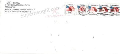Mark David Chapman 1995 Prison Stamped Envelope Signed - Supernaught True Crime Collectibles