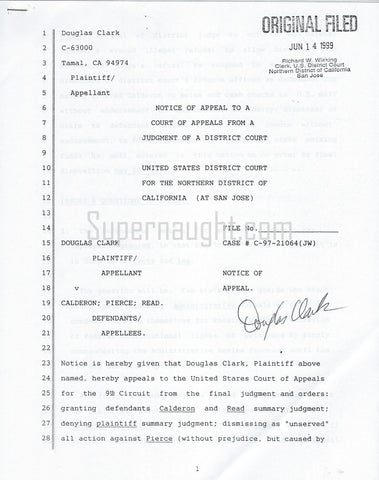 Douglas Clark Signed Notice of Appeal 10 Pages