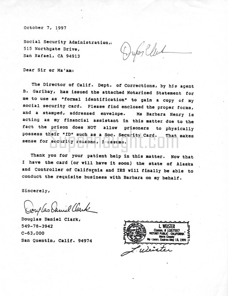 Douglas Clark social security letter signed
