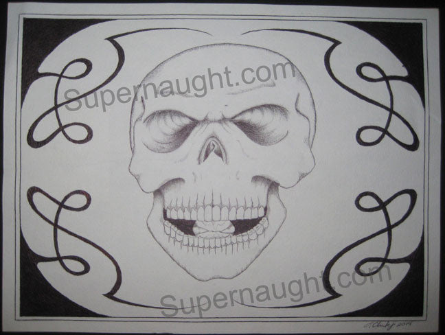 Ronald Clark black skull drawing signed twice - Supernaught True Crime Collectibles - 1