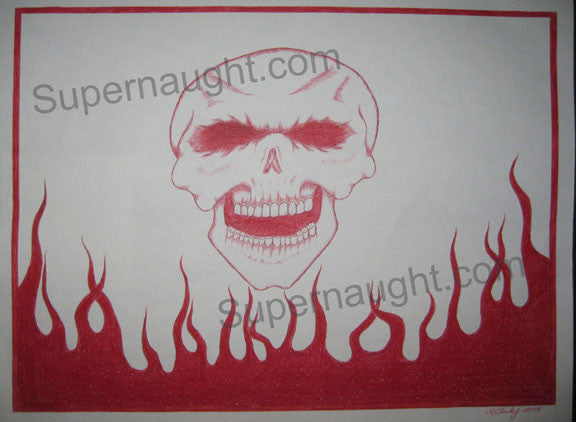 Ronald Clark red skull flames artwork signed twice - Supernaught True Crime Collectibles - 1