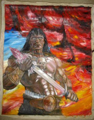 Nicolas Claux Conan the Barbarian oil painting signed - Supernaught True Crime Collectibles