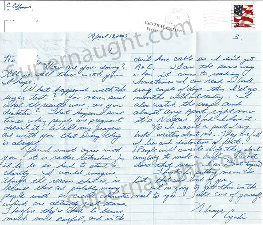 Cynthia Coffman Three Page Letter and Envelope Set Both Signed - Supernaught True Crime Collectibles