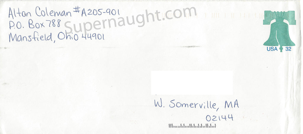Alton Coleman Signed Prison Stamped Envelope