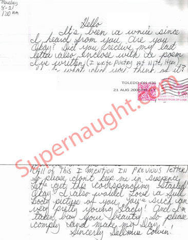 Dellmus Colvin letter and envelope set both signed - Supernaught True Crime Collectibles