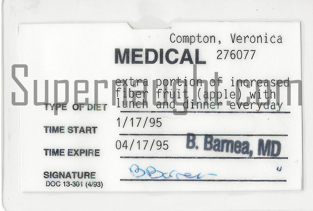 Veronica Compton 1995 Prison Medical Diet Pass