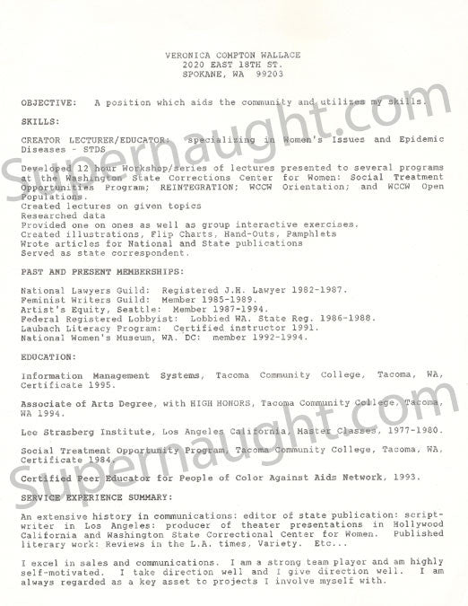 Veronica Compton Wallace 1990s job resume - Supernaught True Crime Collectibles