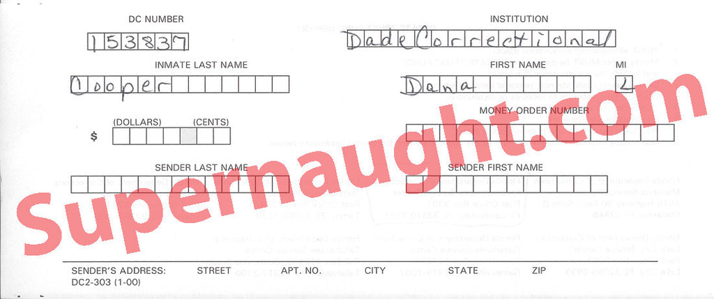 Dana Lynn Cooper Trust Fund Slip Signed - Supernaught True Crime Collectibles