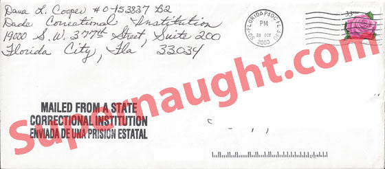 Dana Lynn Cooper Prison Envelope Signed - Supernaught True Crime Collectibles