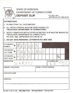 Faye Copeland inmate deposit slip signed - Supernaught True Crime Collectibles
