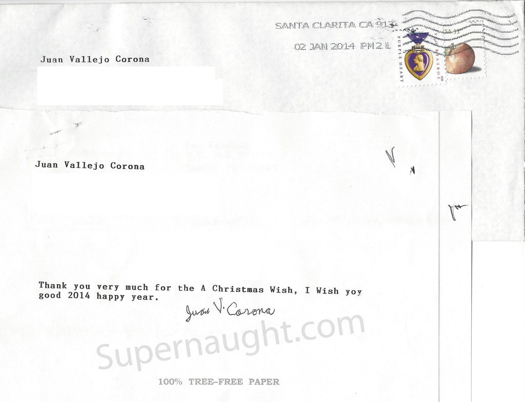Juan Corona Signed Note With Prison Envelope