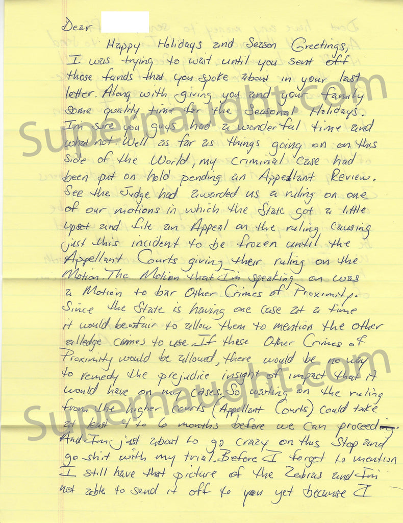 Andre Crawford January 2007 County Jail Letter and Envelope Set Both Signed