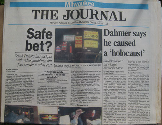 Jeffrey Dahmer says he caused a holocaust 1992 Milwaukee Journal - Supernaught True Crime Collectibles