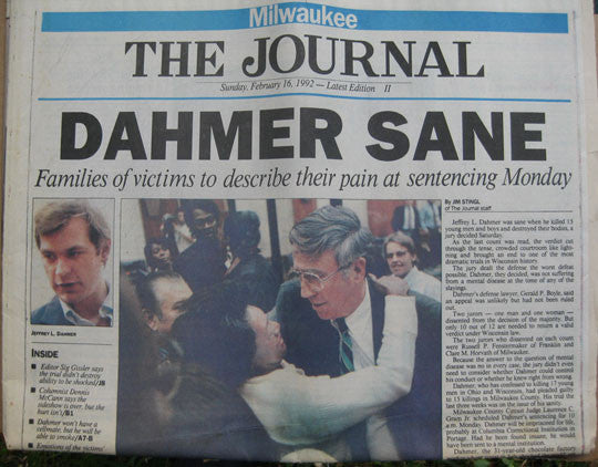 Jeffrey Dahmer Sane Milwaukee Journal Feb 1992 - Supernaught True Crime Collectibles