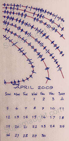 Bruce Davis April 2009 Calendar Drawing Signed - Supernaught True Crime Collectibles