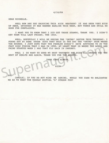 Richard Allen Davis one page typed letter - Supernaught True Crime Collectibles