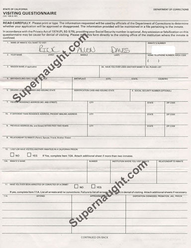 Richard Allen Davis prison visitation form signed in full - Supernaught True Crime Collectibles