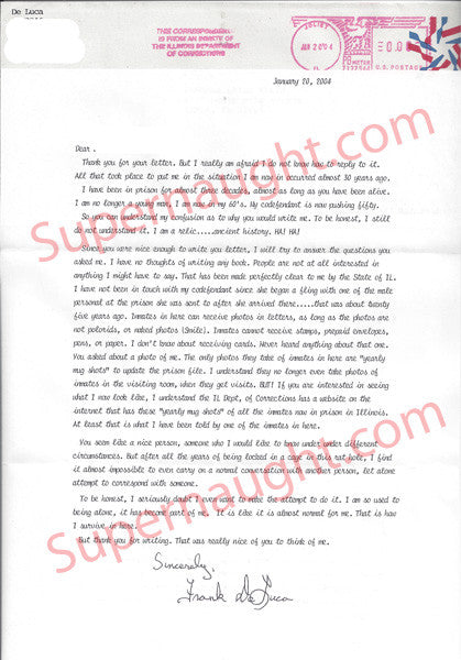 Frank DeLuca letter signed with envelope - Supernaught True Crime Collectibles