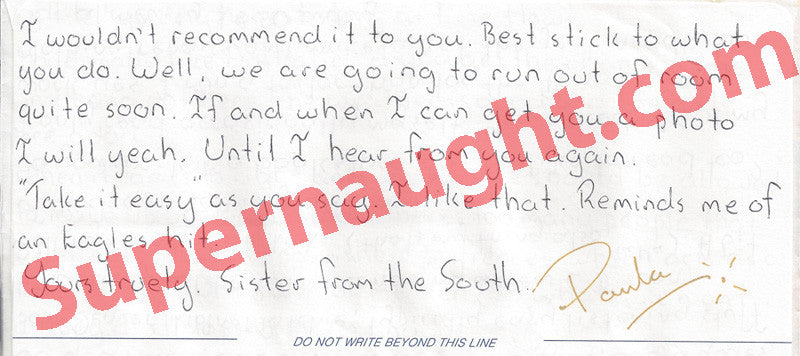 Paul Denyer handwritten letter signed Paula - Supernaught True Crime Collectibles