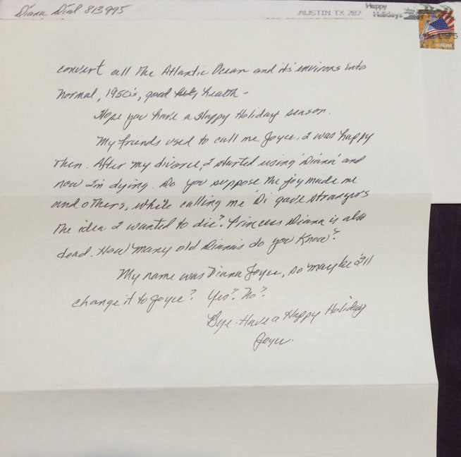 Diana Dial Letter and Envelope Set Both Signed - Supernaught True Crime Collectibles