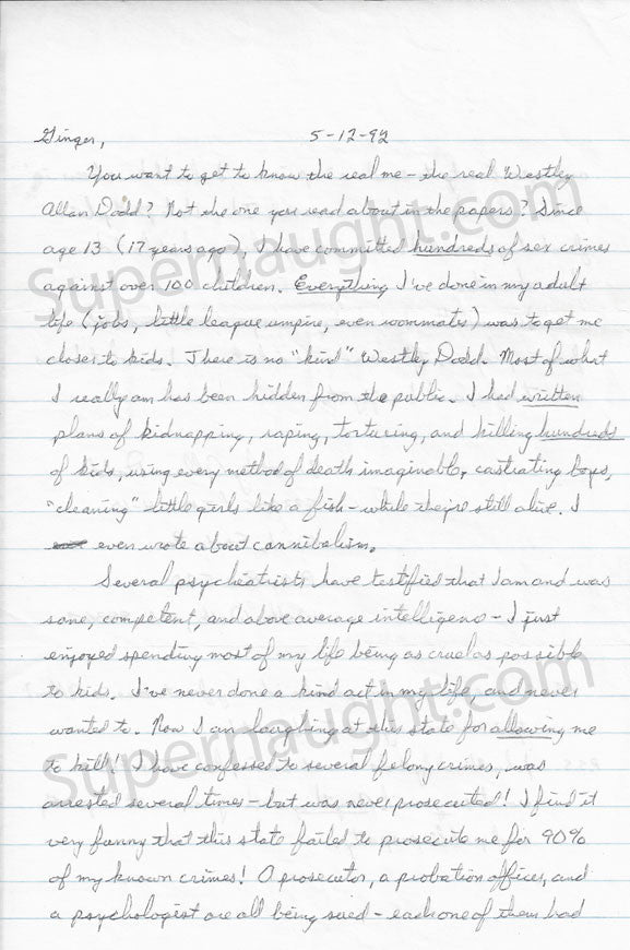 Westley Allan Dodd letter and envelope both signed - Supernaught True Crime Collectibles - 1