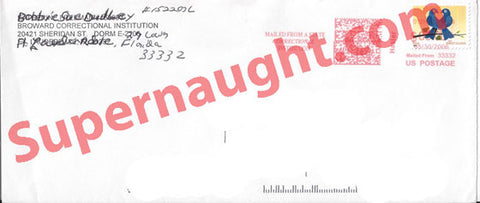 Bobbie Sue Dudley Terrell Signed Prison Envelope - Supernaught True Crime Collectibles