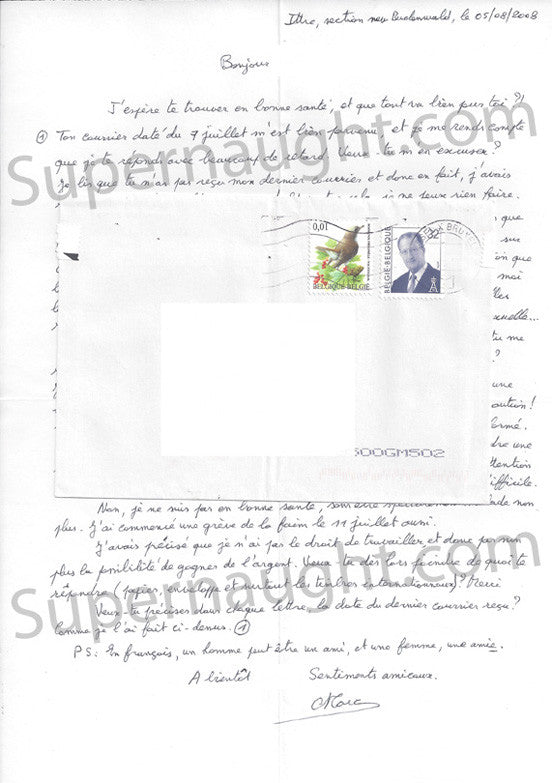 Marc Dutroux letter signed with envelope - Supernaught True Crime Collectibles