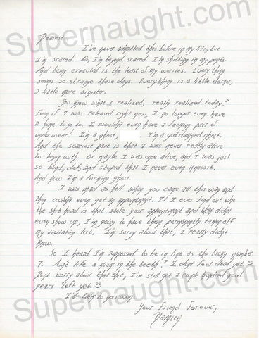 Damien Echols Letter from Death Row Signed - Supernaught True Crime Collectibles