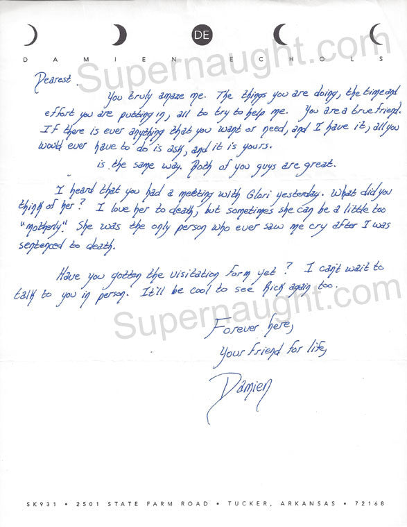 Damien Echols letter on death row stationary signed - Supernaught True Crime Collectibles