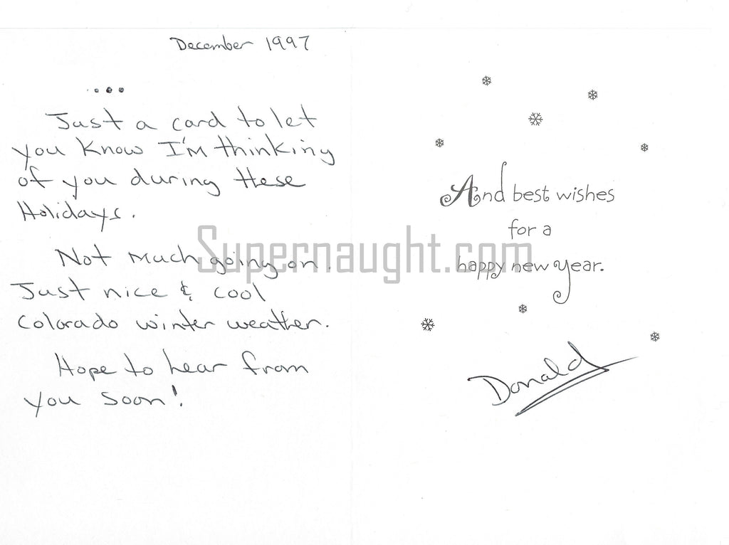 Donald Leroy Evans signed christmas card serial killer