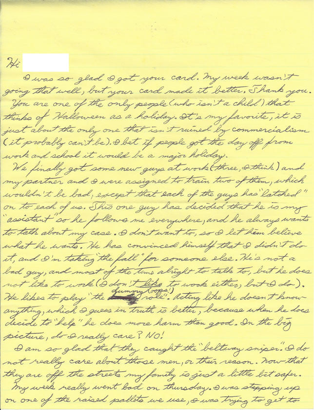 Kendall Francois letter with drawing and envelope both signed - Supernaught True Crime Collectibles - 1