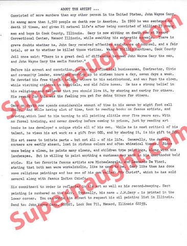 John Wayne Gacy About the Author Artist Bio Copy - Supernaught True Crime Collectibles