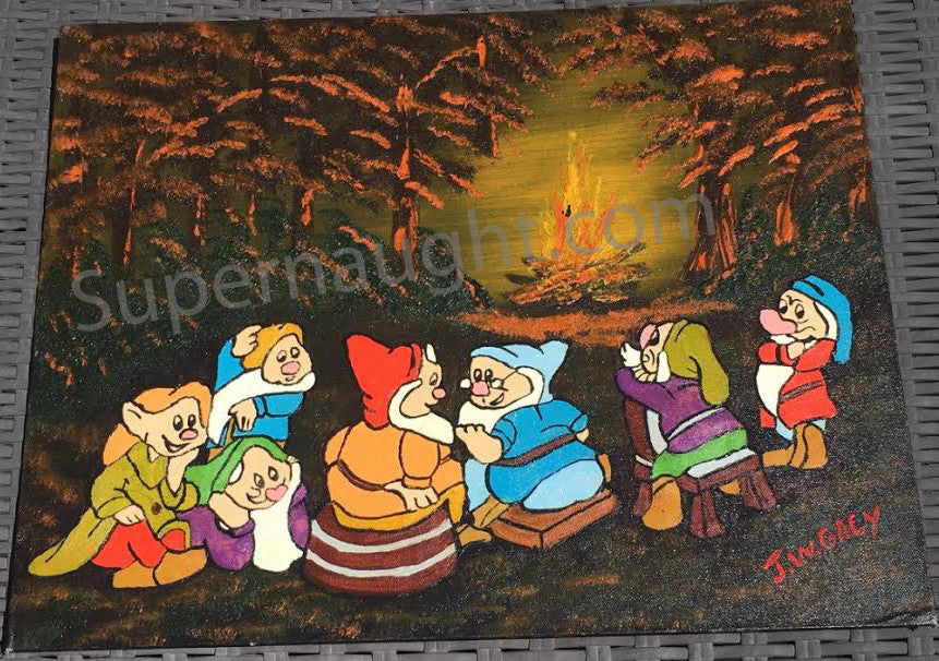 John Wayne Gacy Hi Ho Around the Campfire Painting Signed