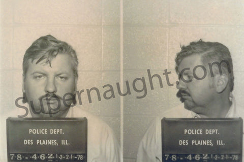 John Wayne Gacy 1978 arrest photo front and side profile - Supernaught True Crime Collectibles