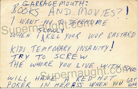 John Wayne Gacy 1980 Postcard Threatening His Attorney
