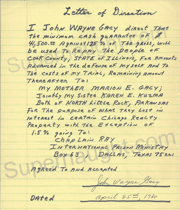 John Wayne Gacy 1980 Letter of Direction Signed in Full Serial Killer
