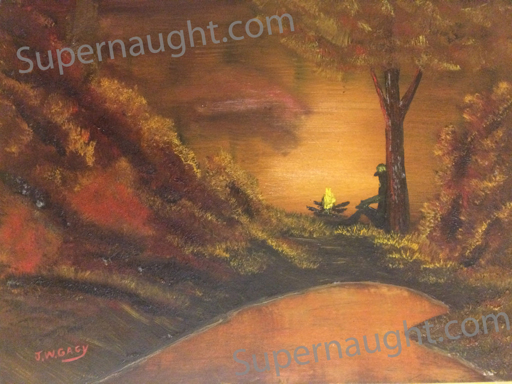 John Wayne Gacy Campfire Oil Painting Signed Three Times - Supernaught True Crime Collectibles - 1