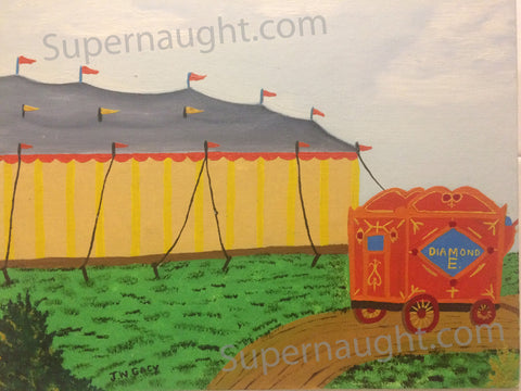 John Wayne Gacy Circus Tent Oil Painting Signed Twice - Supernaught True Crime Collectibles - 1