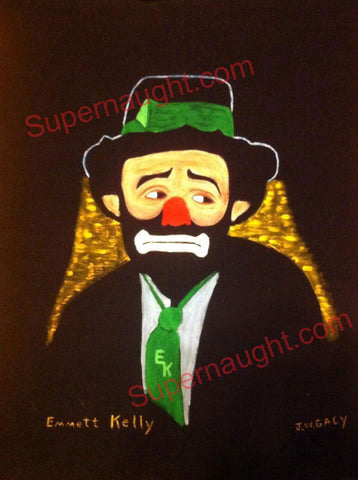 John Wayne Gacy Emmett Kelly painting on felt signed JW Gacy - Supernaught True Crime Collectibles