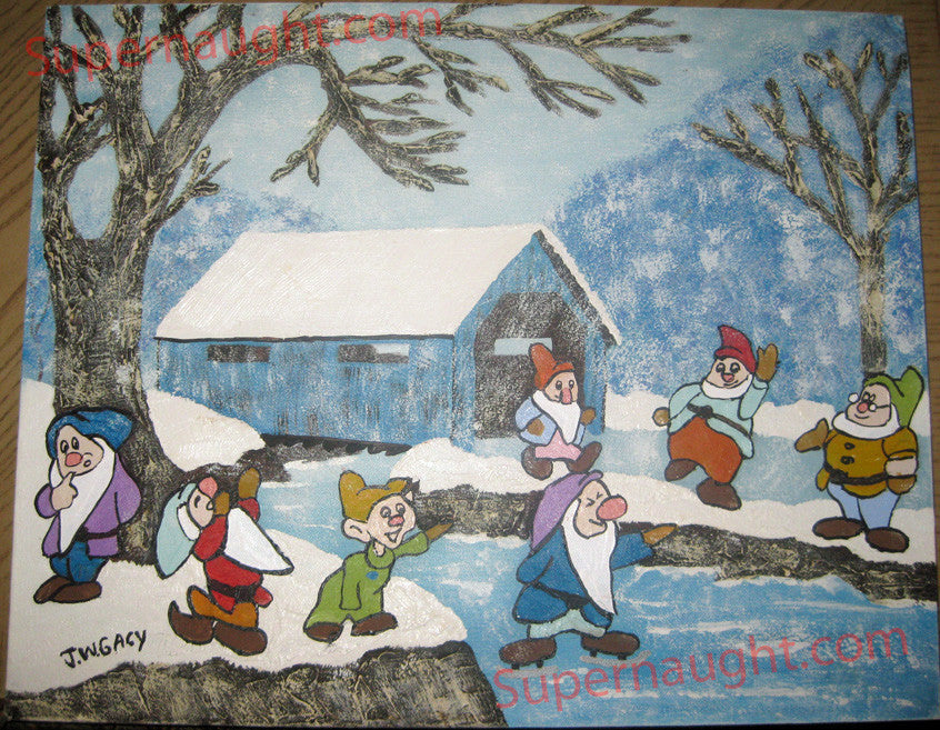John Wayne Gacy HI HO in the Winter signed oil painting - Supernaught True Crime Collectibles - 1