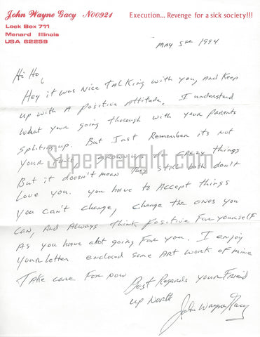 John Wayne Gacy 1994 Handwritten Letter Signed in Full with Envelope Set - 5 Days Before His Execution!
