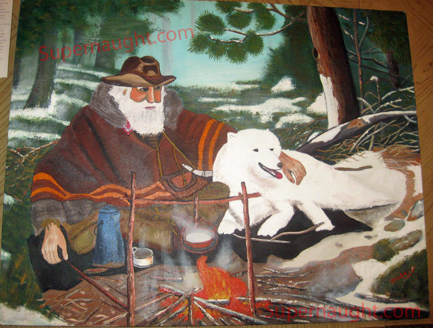 John Wayne Gacy Mountain Man Winter Giant Painting Signed - Supernaught True Crime Collectibles - 1