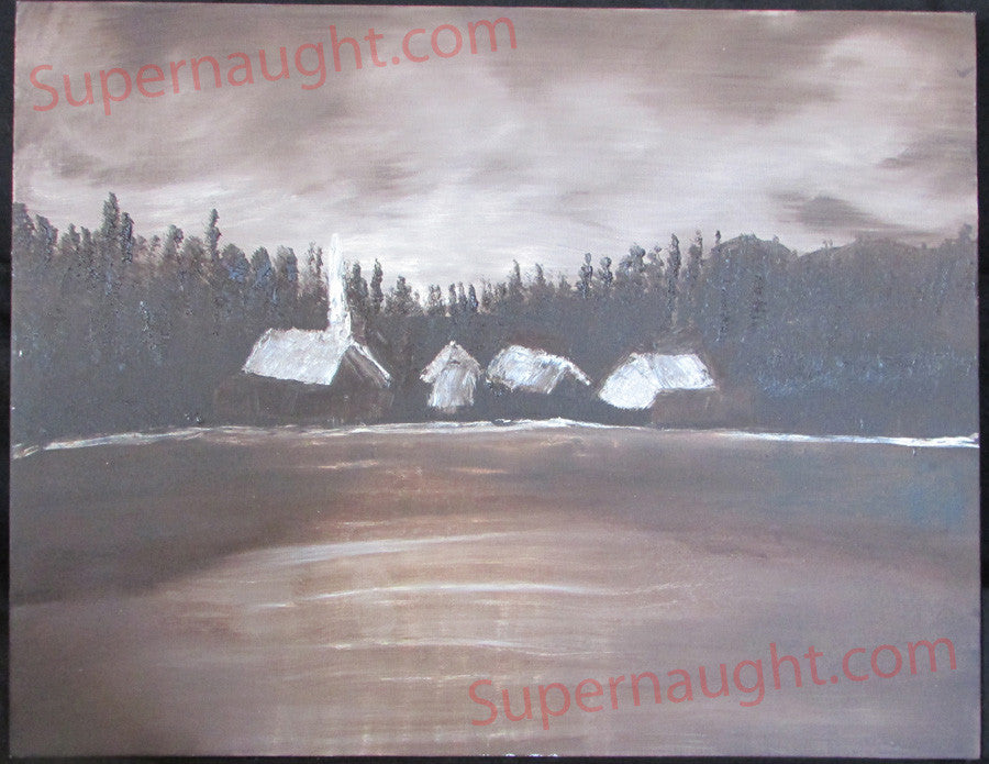 John Wayne Gacy Peaceful Village painting signed - Supernaught True Crime Collectibles - 1