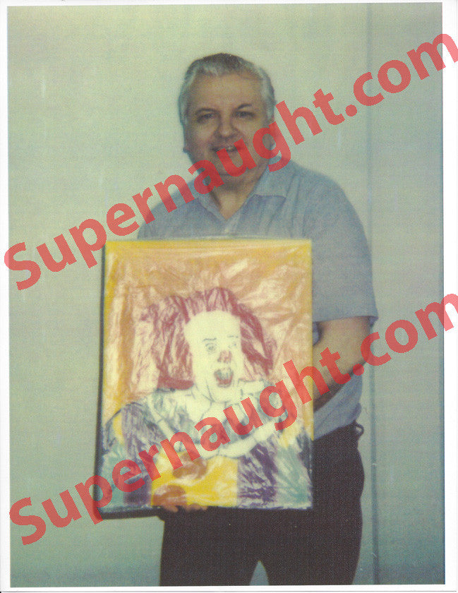 John Wayne Gacy Photo Holding a Pennywise the Clown Painting - Supernaught True Crime Collectibles